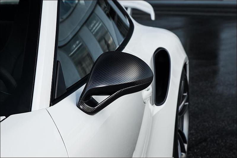 TECHART Matte Carbon Fiber Sport Design Side Mirror Kit Porsche 991.2 Carrera 17-19