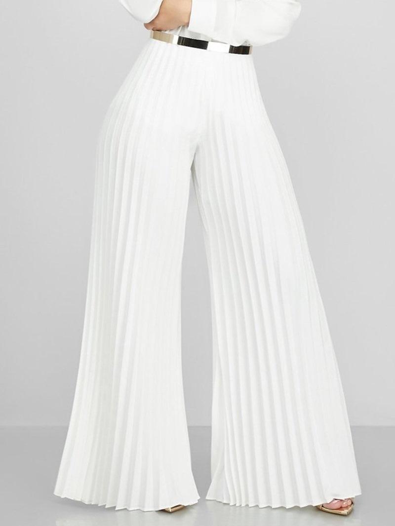 Ericdress Pleated Loose Plain Full Length Wide Legs Pants