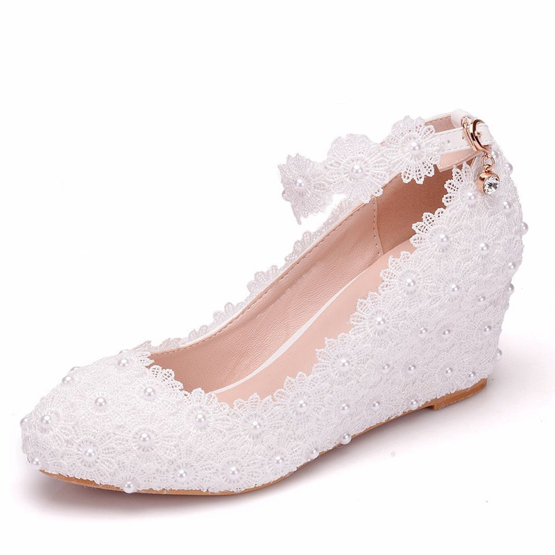 Ericdress Beads Round Toe Line-Style Buckle Wedding Shoes