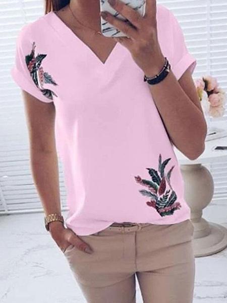 Milanoo Short Sleeves Tees Pink Printed V-Neck Cotton Women T Shirt
