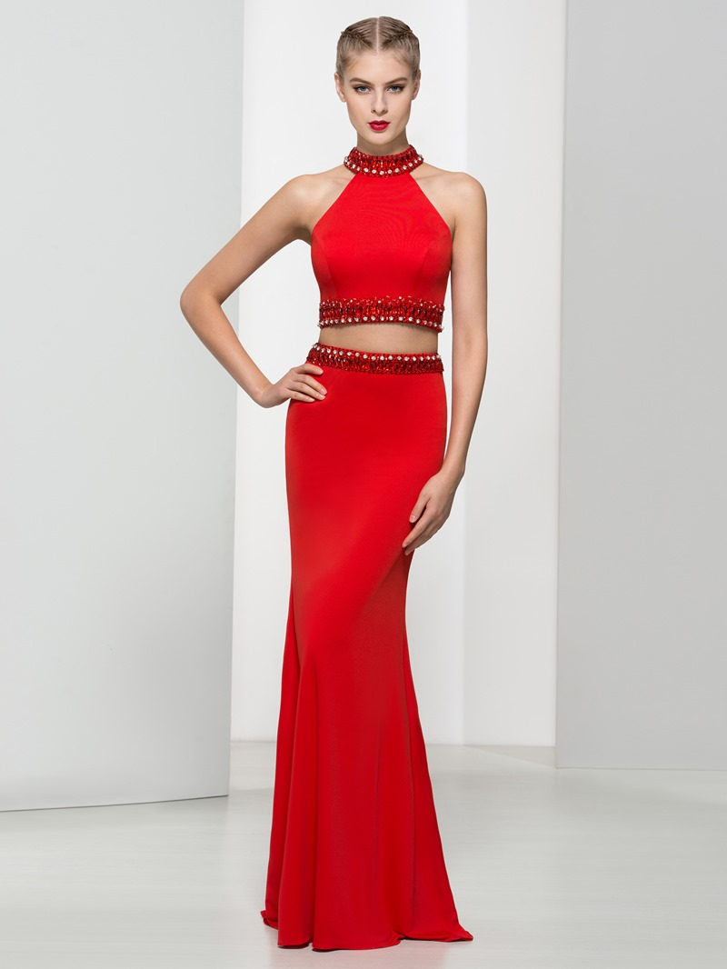 Ericdress High Neck Beading Sequins Two Pieces Sheath Prom Dress