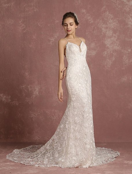 Milanoo Summer Wedding Dresses 2020 Lace Boho Cathedral Train Bridal Gown Mermaid Spaghetti Straps V Neck Backless Bridal Dress