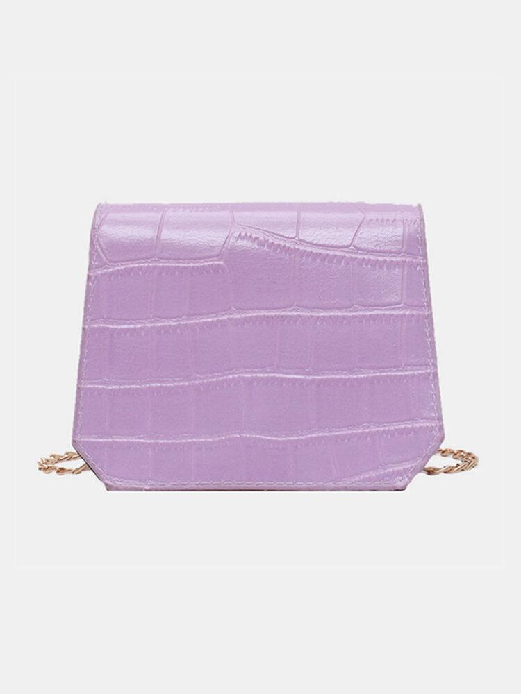 Women Solid Alligator Chain Square Bag Crossbody Bag