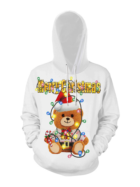 Milanoo Unisex Christmas Hoodie Print Christmas Pattern Ugly Christmas Sweater