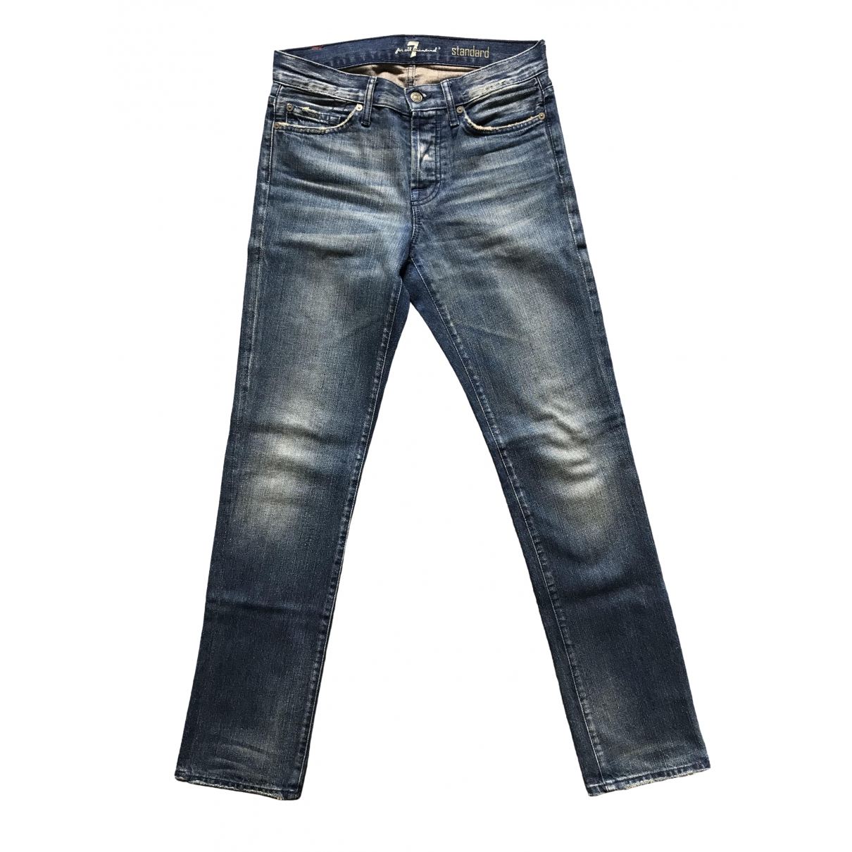 7 For All Mankind \N Blue Cotton Jeans for Men 28 US