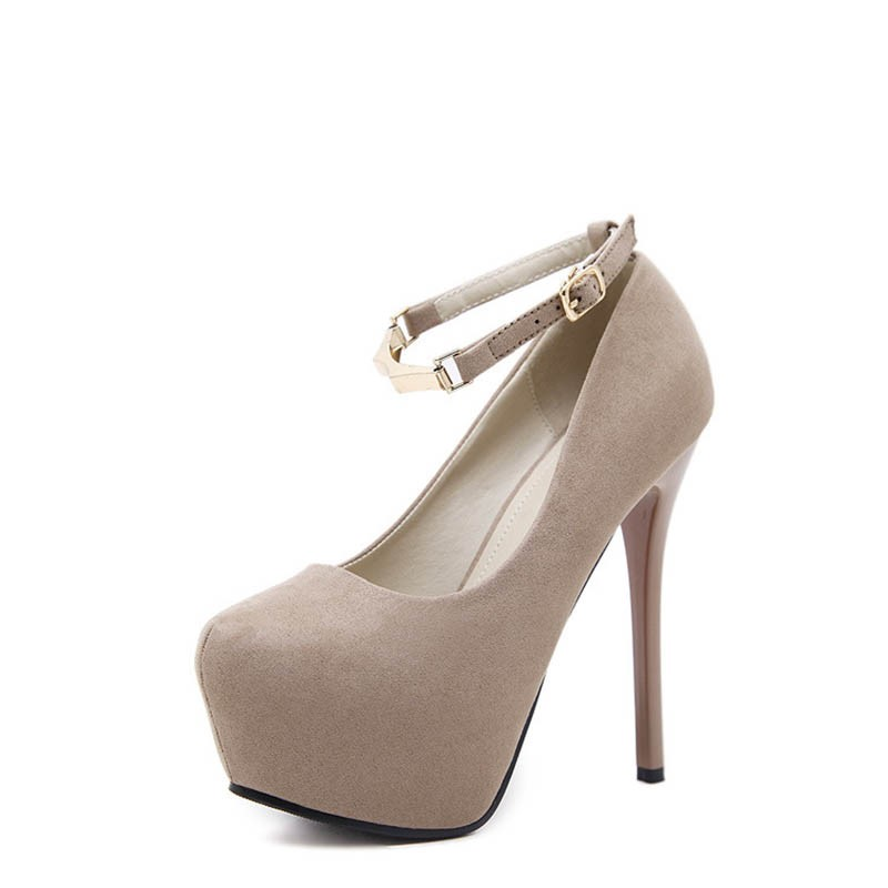 Ericdress Faux Suede Buckle Platform Stiletto Heel Round Toe Women's Pumps