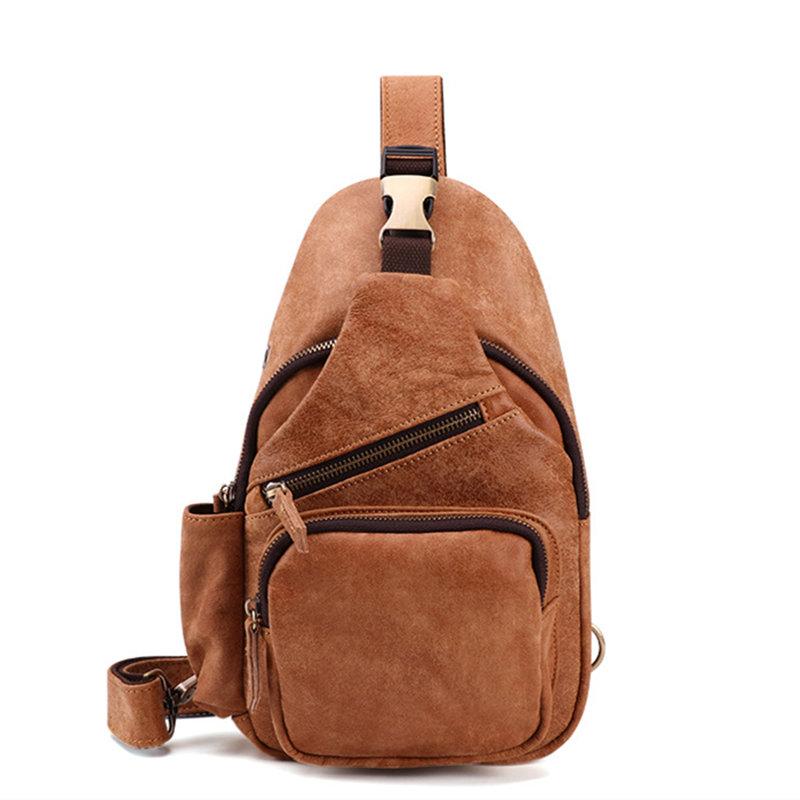 Genuine Leather Casual Multi-function Chest Bag Retro Crossbody Bag For Men