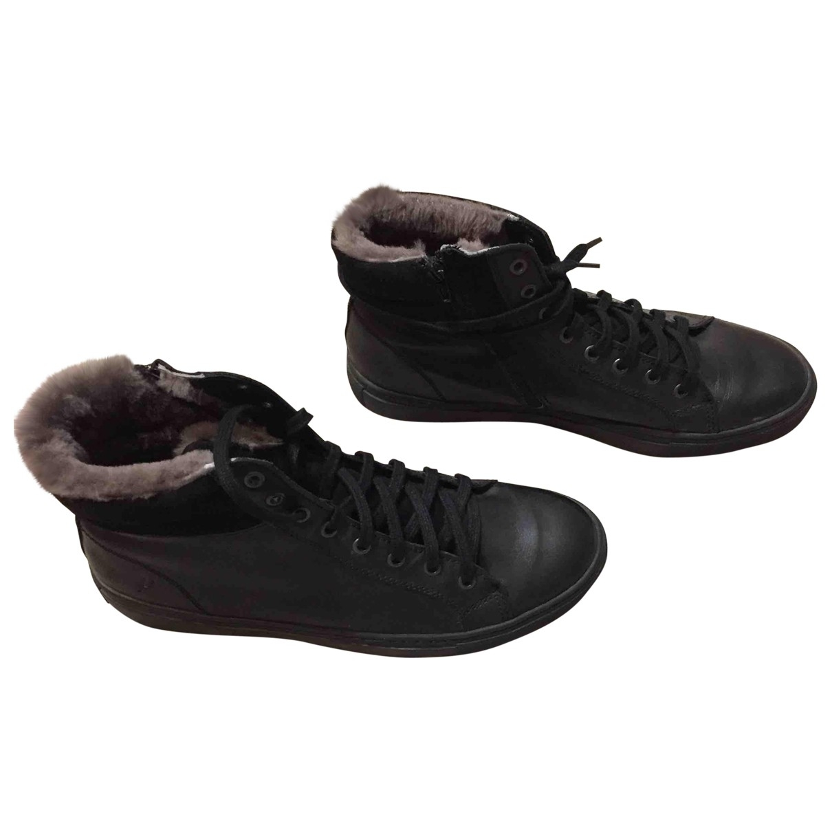 Non Signé / Unsigned \N Black Leather Trainers for Men 44 EU