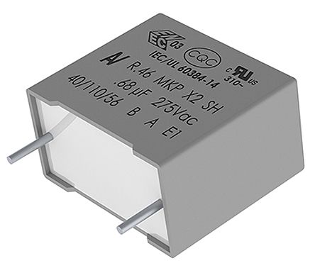 KEMET 680nF Polypropylene Capacitor PP 275 V ac, 560 V dc ±20% Tolerance Through Hole R46 Series (10)