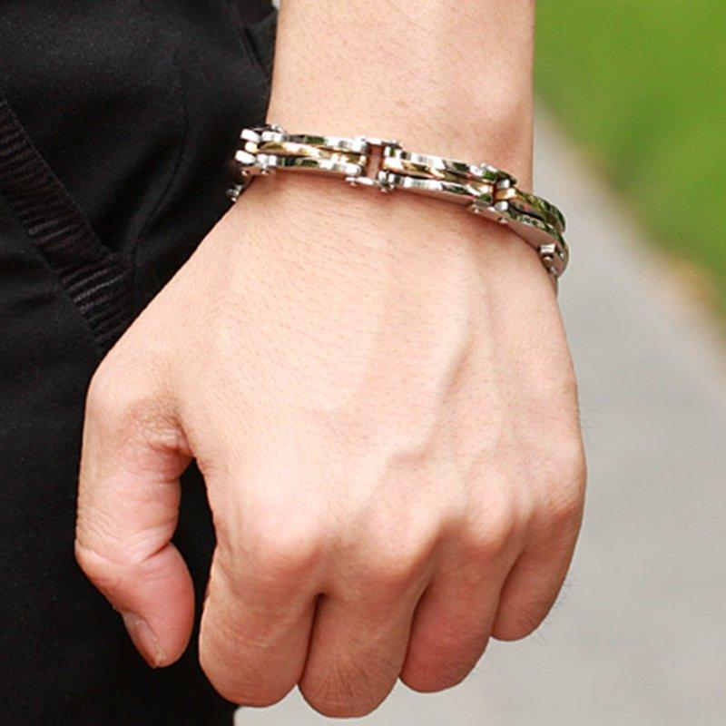 Trendy Geometric Stereoscopic Diamond Men's Bracelet Titanium Steel Chain Bracelet