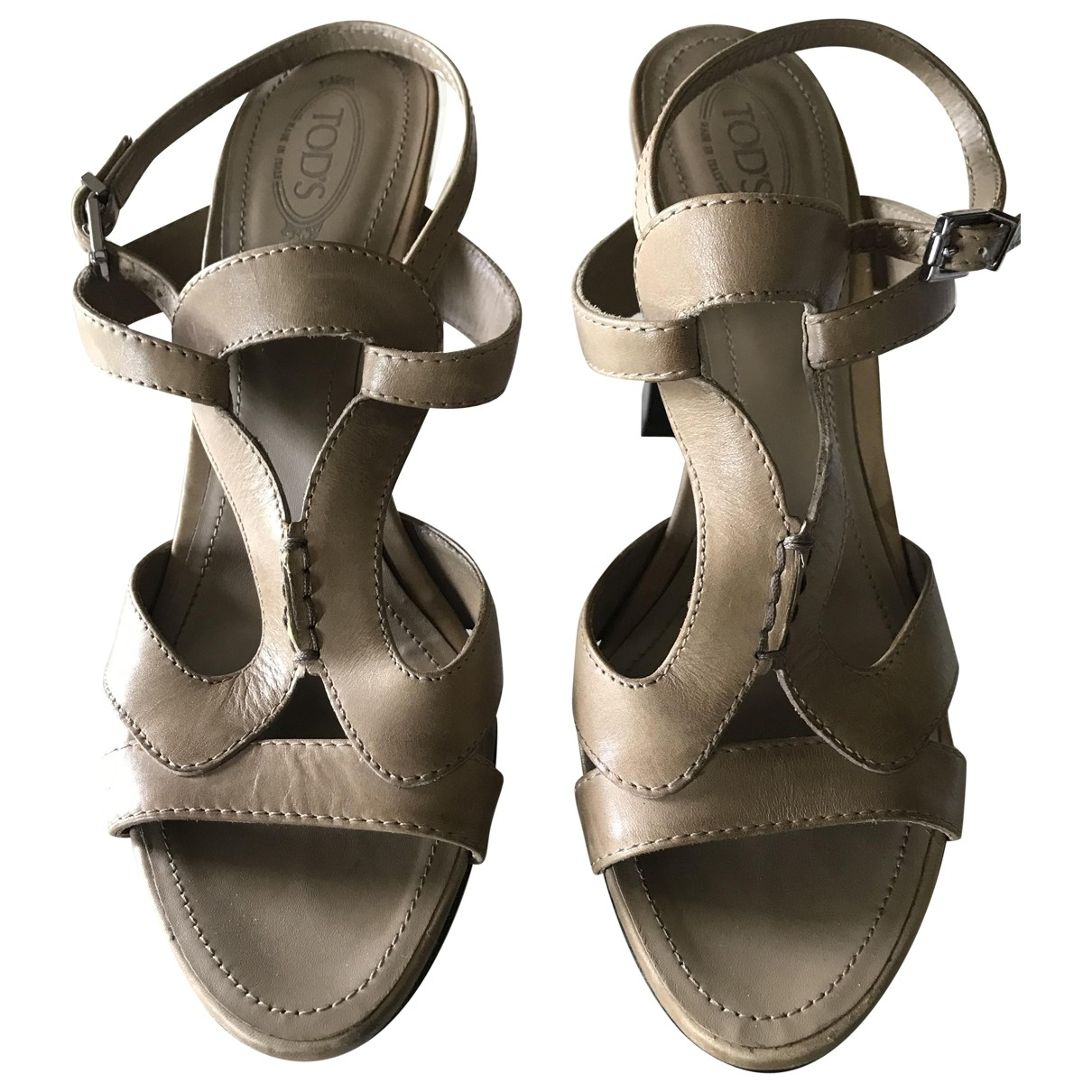 Tod's \N Beige Leather Sandals for Women 38 EU