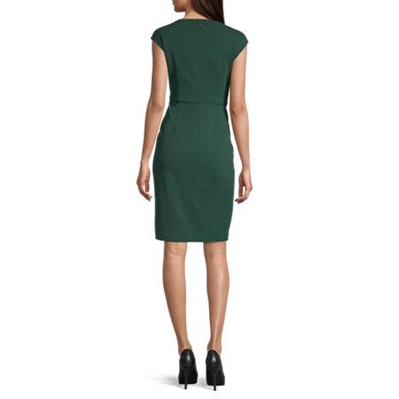 London Style Sleeveless Midi Sheath Dress, 12 , Green