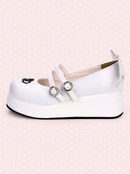 Milanoo Sweet Lolita Pumps Strappy Buckle Cut Out Wing Lolita Flatform Shoes
