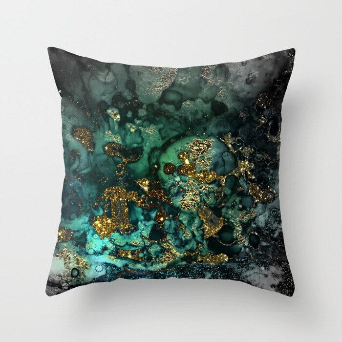Marble Stone Pattern Pillowcase Cotton Linen Sofa Home Car Cushion Cover