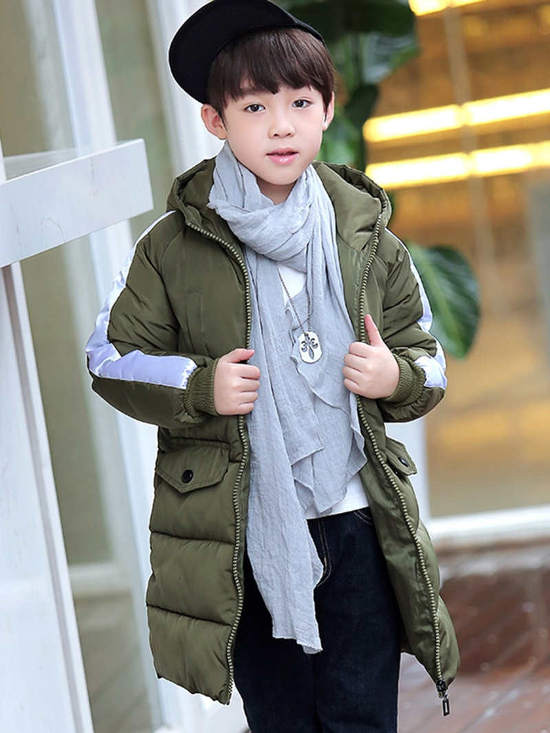 Ericdress Zipper Hooded Mid-Length Unisex Kid's Down Jacket