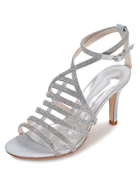 Milanoo White Wedding Shoes Gladiator Sandals Women's High Heel Rhinestones Ankle Strap Bridal Shoes
