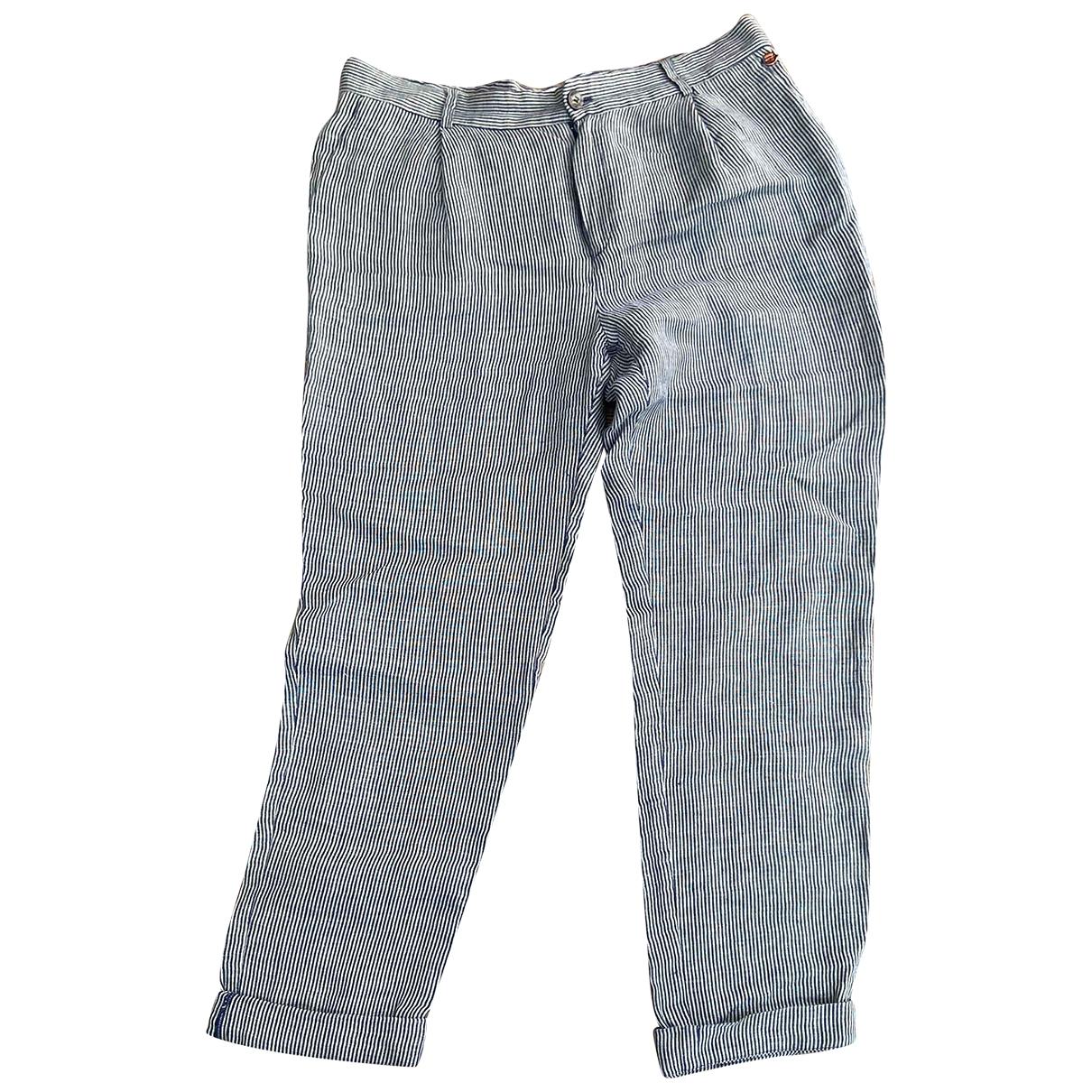 Harry Wilson \N Blue Linen Trousers for Women 4 US