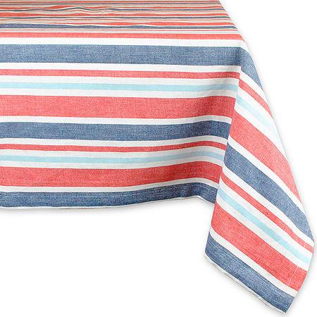 Design Imports Patriotic Stripe Cotton Tablecloth, One Size , Multiple Colors