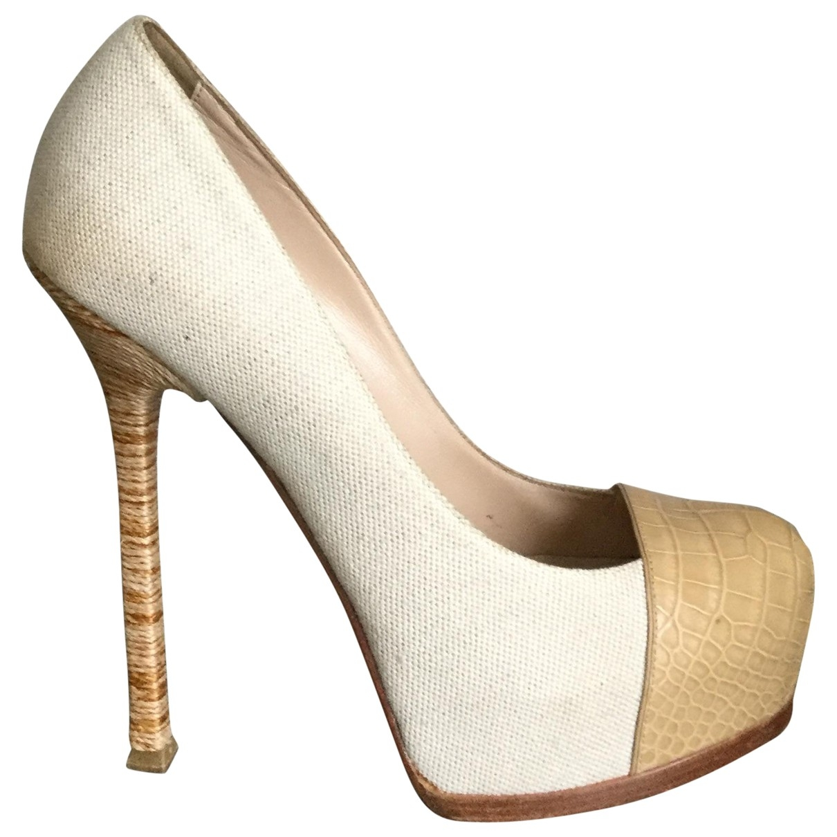 Yves Saint Laurent Trib Too Beige Exotic leathers Heels for Women 39 EU