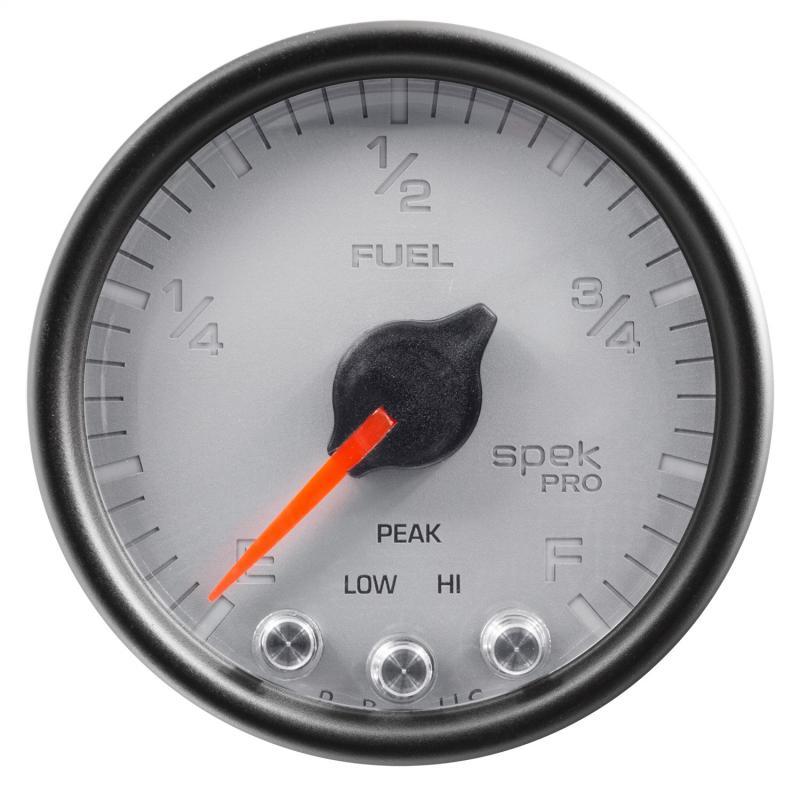 AutoMeter GAUGE; FUEL LEVEL; 2 1/16in.; 0-270O PROGRAMMABLE; SLVR/BLK; SPEK-PRO