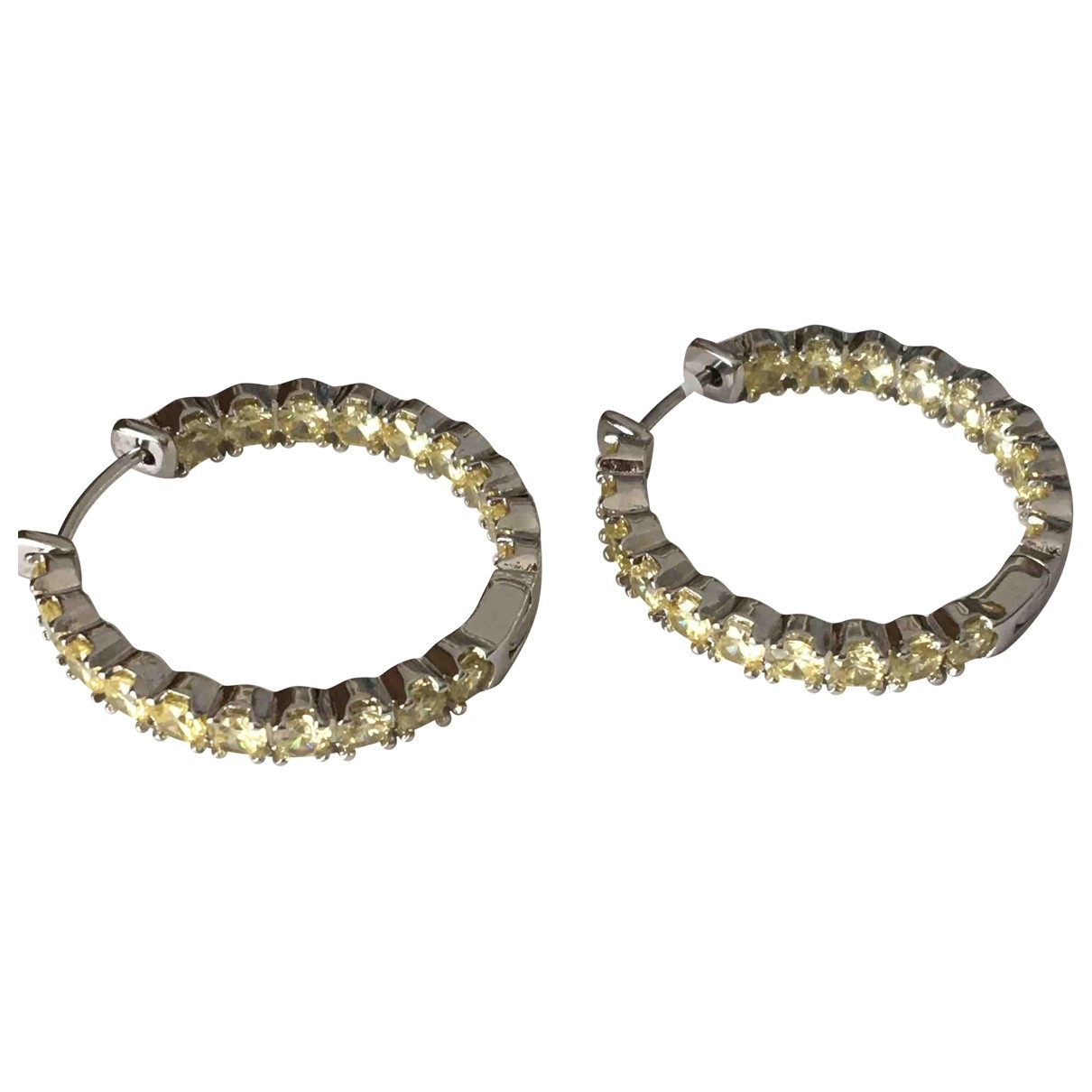Non Signé / Unsigned Créoles Yellow Metal Earrings for Women \N
