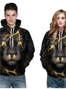 Long Sleeve Lion Light 3D Pattern Hoodie
