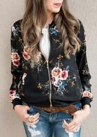 Floral Zipper Long Sleeve Coat - Black