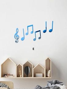 Music Note Design Mirror Surface Wall Sticker