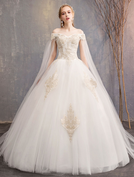 Milanoo Wedding Dresses Tulle Off The Shoulder Short Sleeve Lace Applique Princess Bridal Gown
