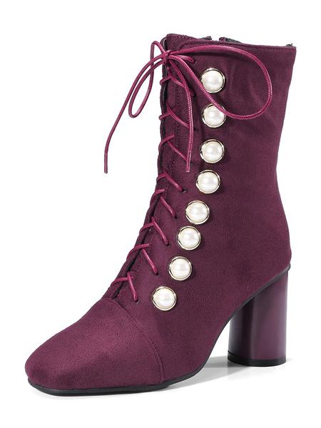 Milanoo Women Square Toe Mid Calf Boots 2.8 Chunky Heel In Black