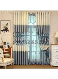 Elegant and Cozy Light Blue Embroidered Flowers Hollowed-out Designing Sheer Curtain