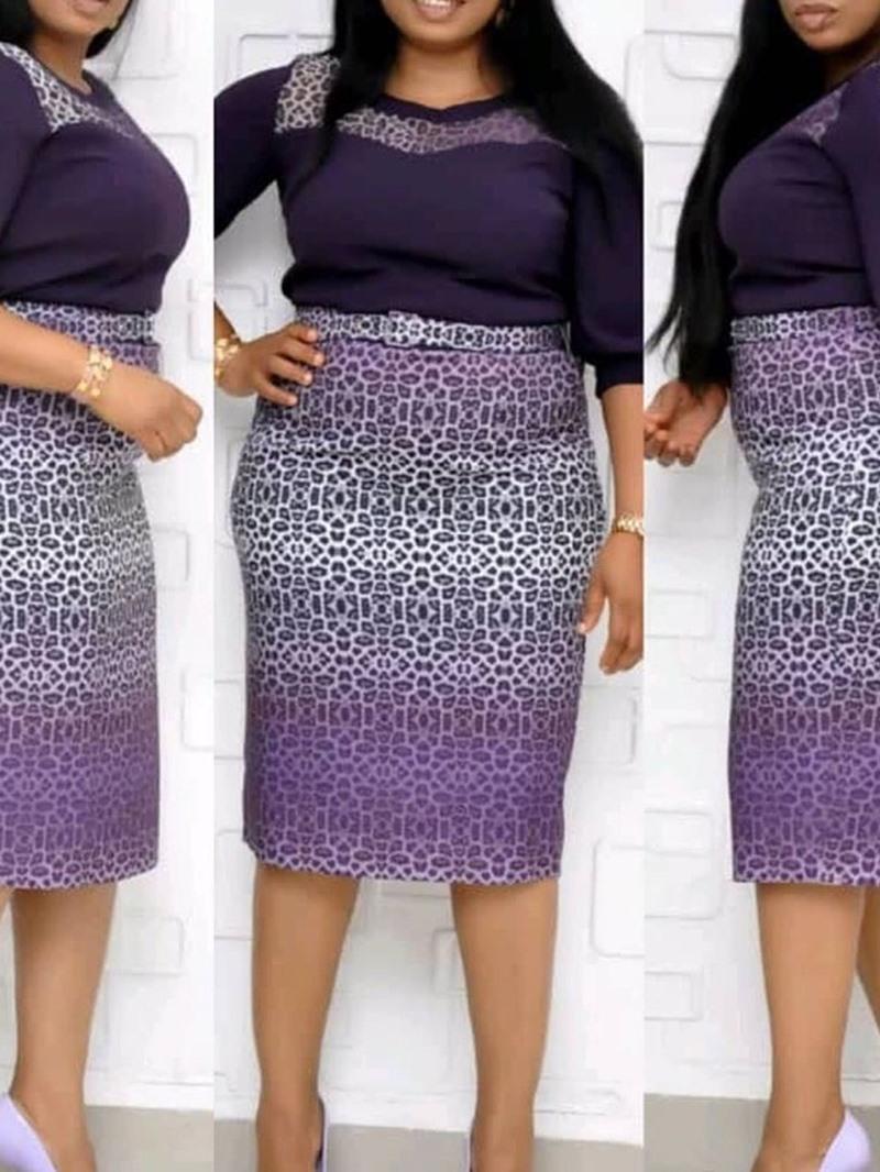 Ericdress Plus Size Sleeve Mid-Calf Print Leopard Pullover Women's Dress