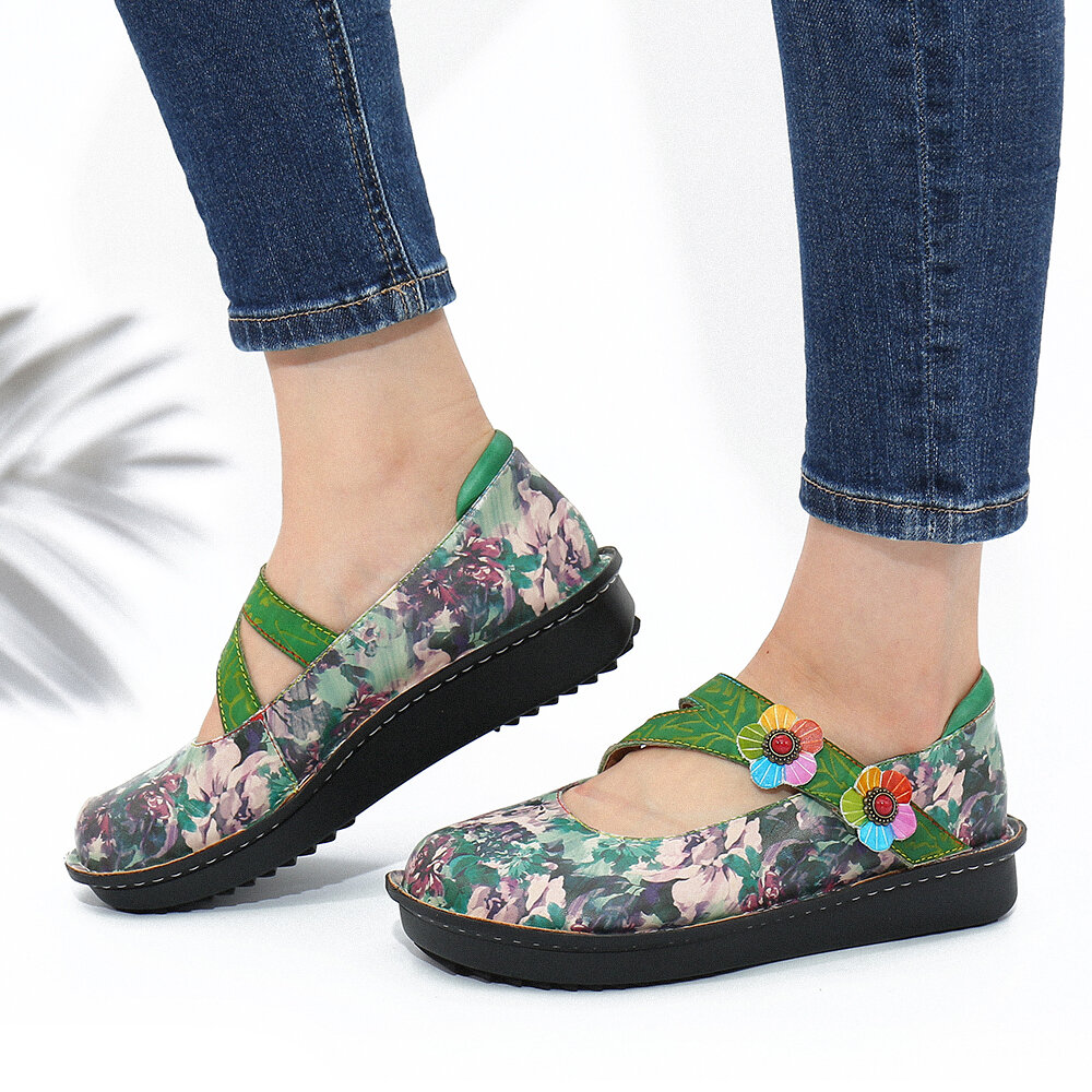 SOCOFY Vintage Printed Leather Floral Comfy Non Slip Hook Loop Strap Flat Shoes