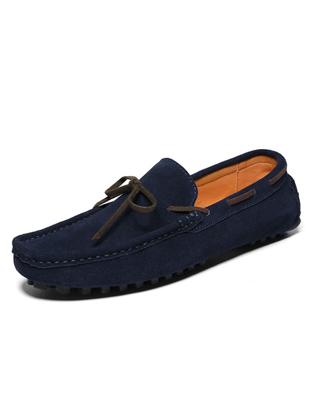 Milanoo Mens Moccasin Loafers Boat Shoes Suede Slip On Driving Shoes
