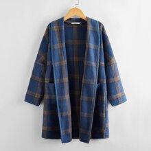 Girls Shawl Collar Patch Pocket Plaid Overcoat