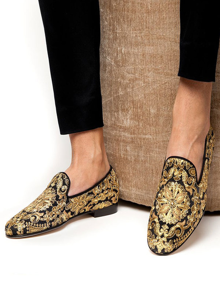 Milanoo Mens Gold and Black Embroidered Leather Loafers Prom Shoes