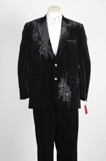 Mens 2 Button Single Breasted Suit Black
