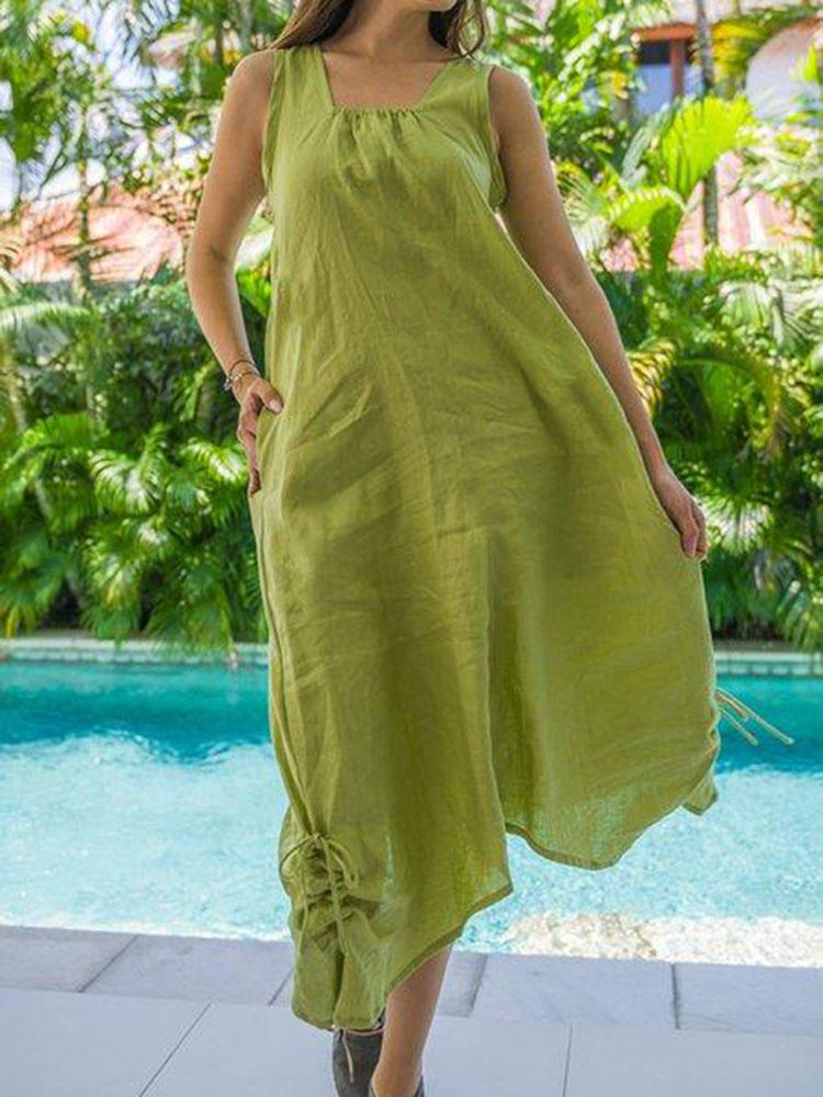Women Cotton Linen Solid Color Sleeveless Dress with Pockets