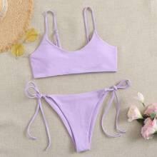 Plain Tie Side Bikini Swimsuit