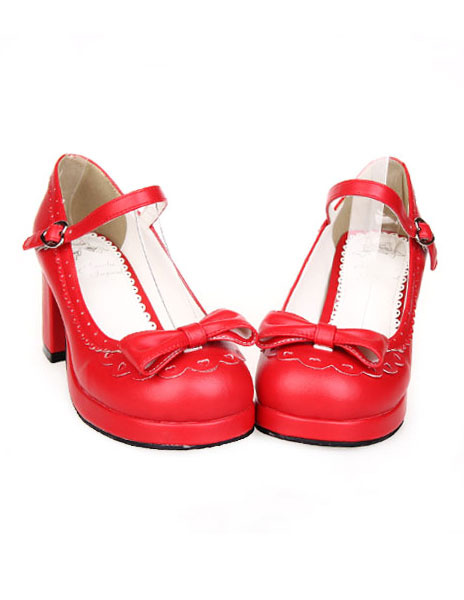 Milanoo Sweet Chunky Heels Lolita Shoes Bow Decor Ankle Strap Buckle