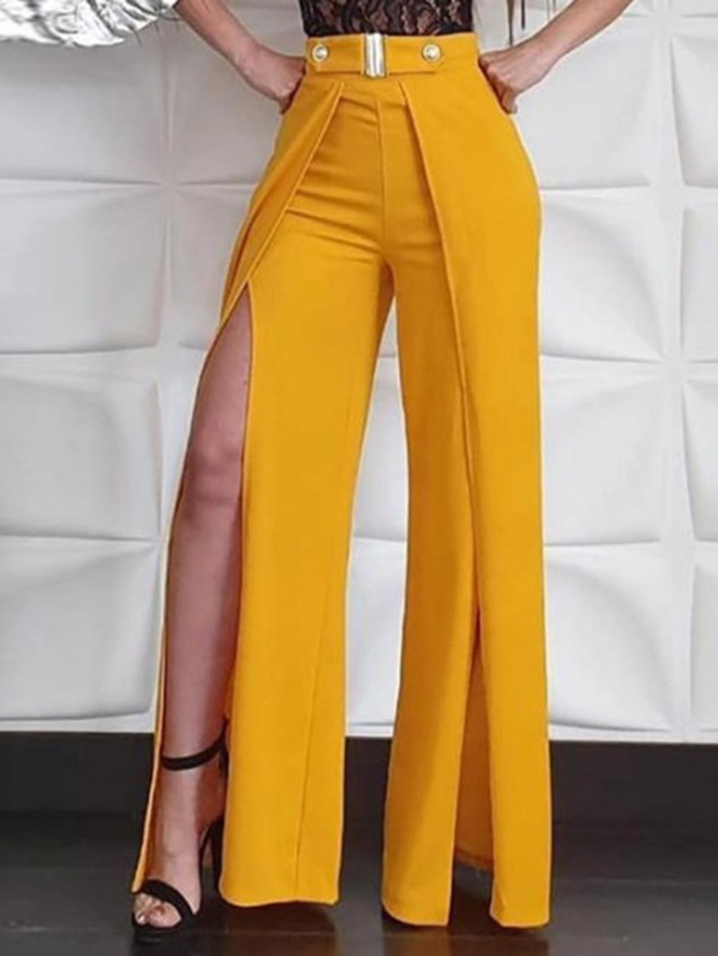 Ericdress Plain Slim Split Full Length Casual Pants