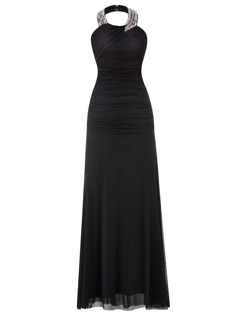 Ericdress Sheath Halter Beaded Pleats Chiffon Evening Dress