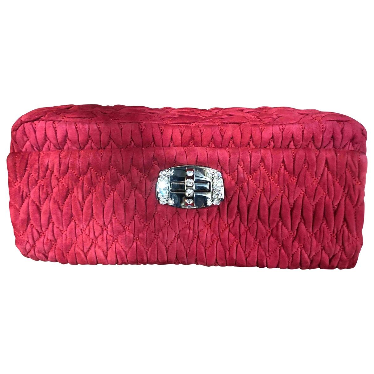 Miu Miu Miu Crystal Red Suede Clutch bag for Women \N