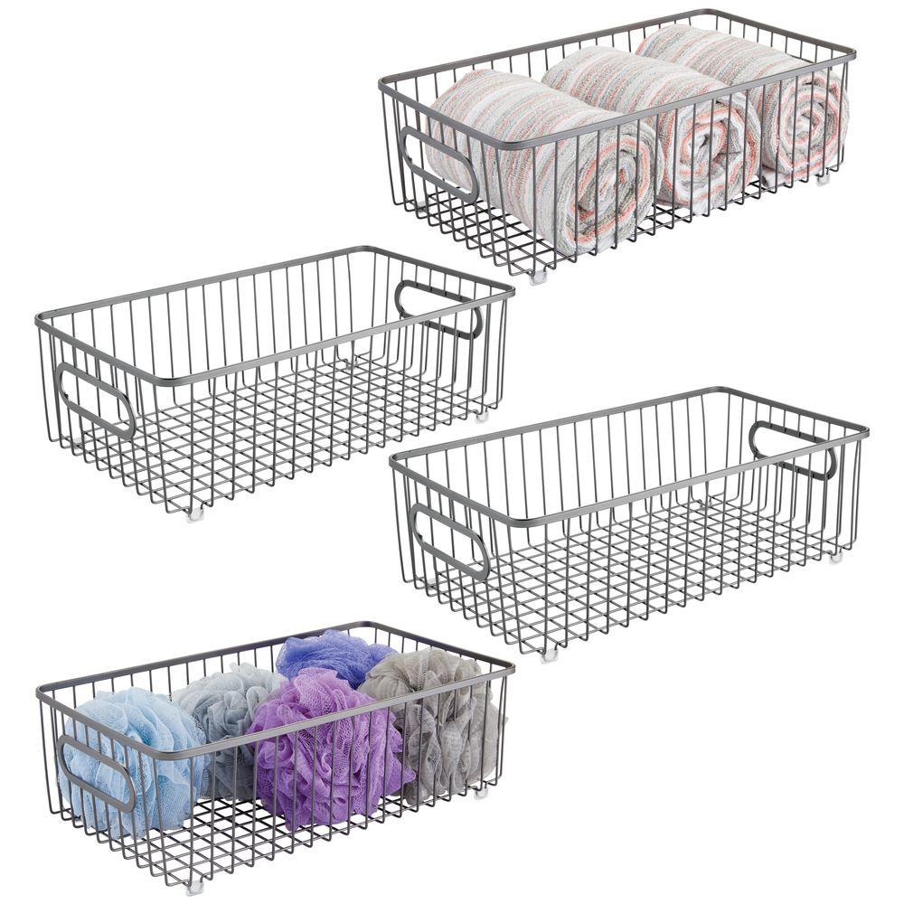 mDesign Large Metal Wire Bathroom Storage Basket in Graphite, 14.75