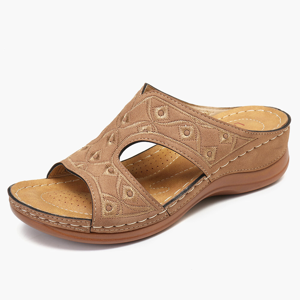 LOSTISY Stitching Comfortable Wedges Heel Beach Slippers