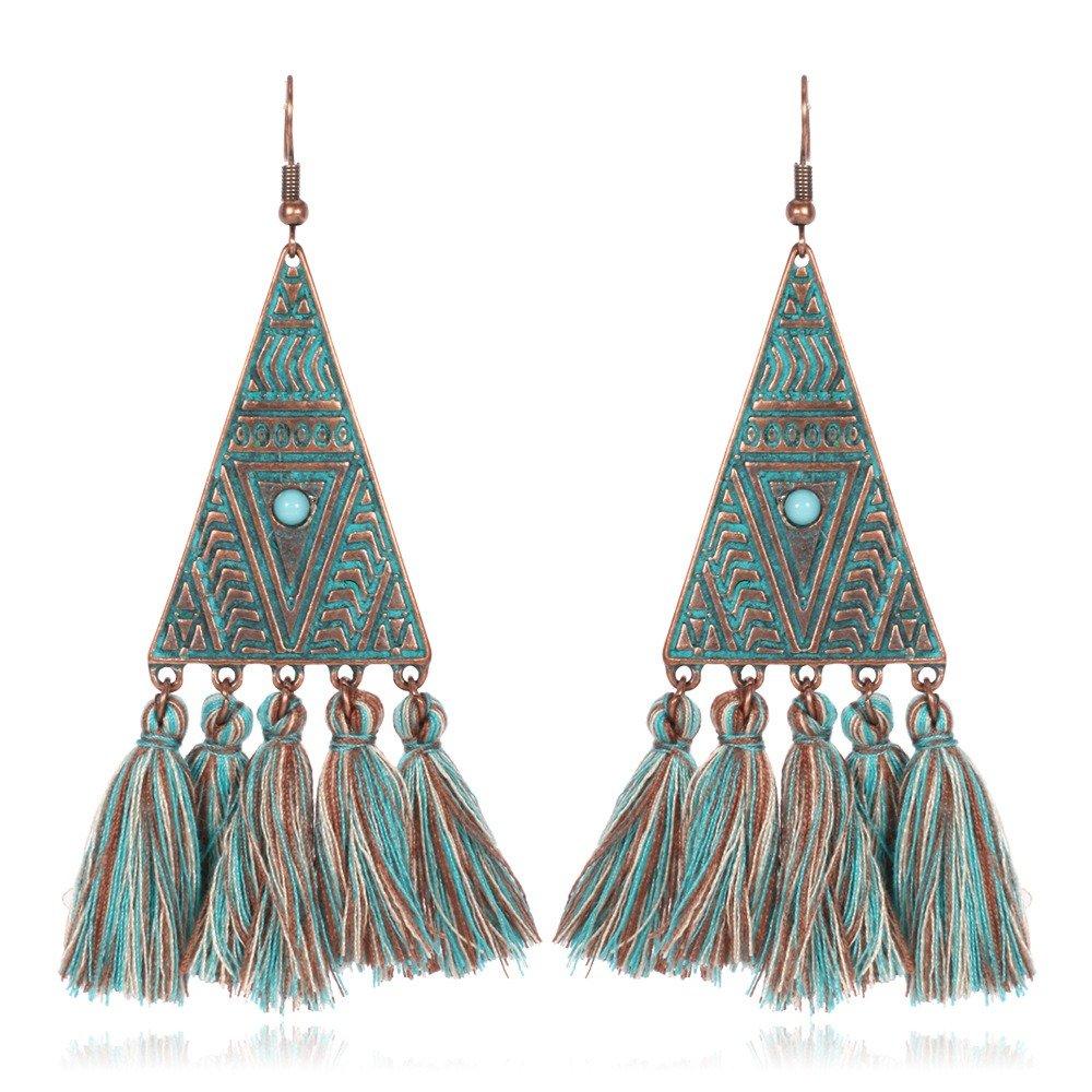 Bohemian Tassel Drop Earrings Triangle Pattern Earrings Ethnic Turquoise Women Earrings