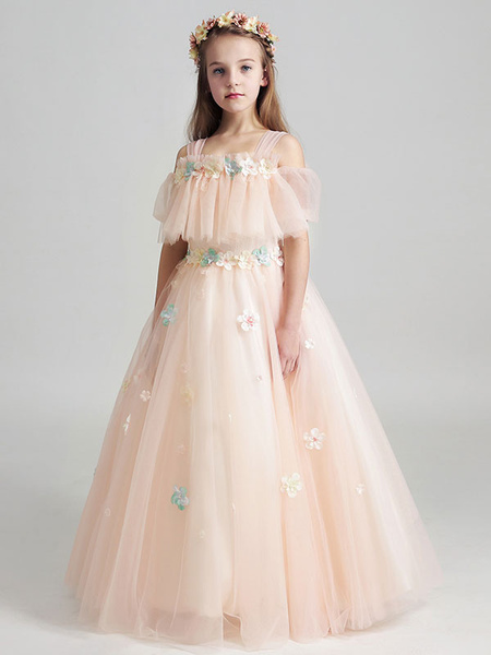 Milanoo Flower Girl Dresses Applique Tulle Floor Length Cold Shoulder Pastel Green Kids Pageant Dresses