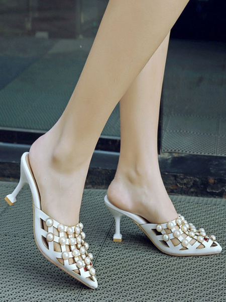 Milanoo Women White Mules PU Leather Pointed Toe Pearls Slip On Shoes
