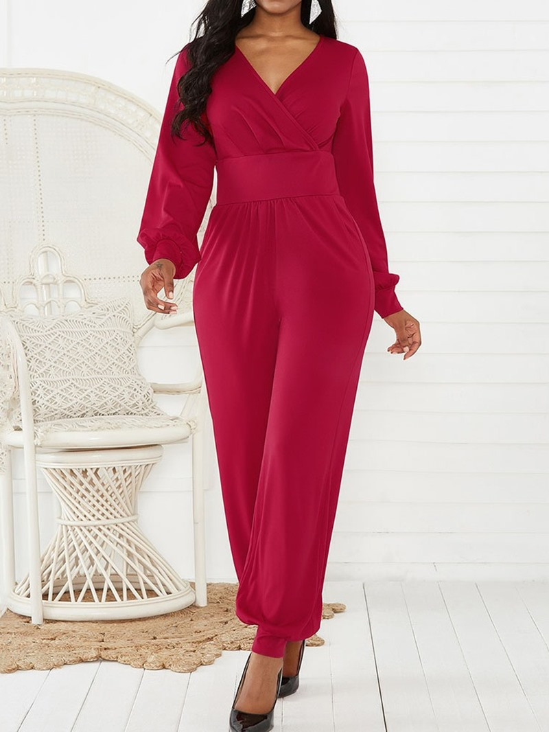 Ericdress Plain Casual Full Length Slim Mid Waist Jumpsuit