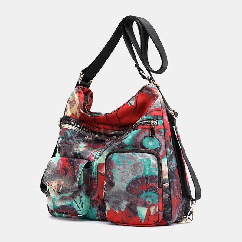 Women Flower Printed Multi-carry Backpack